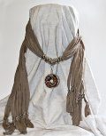 Charcoal Grey Scarf with Pendant