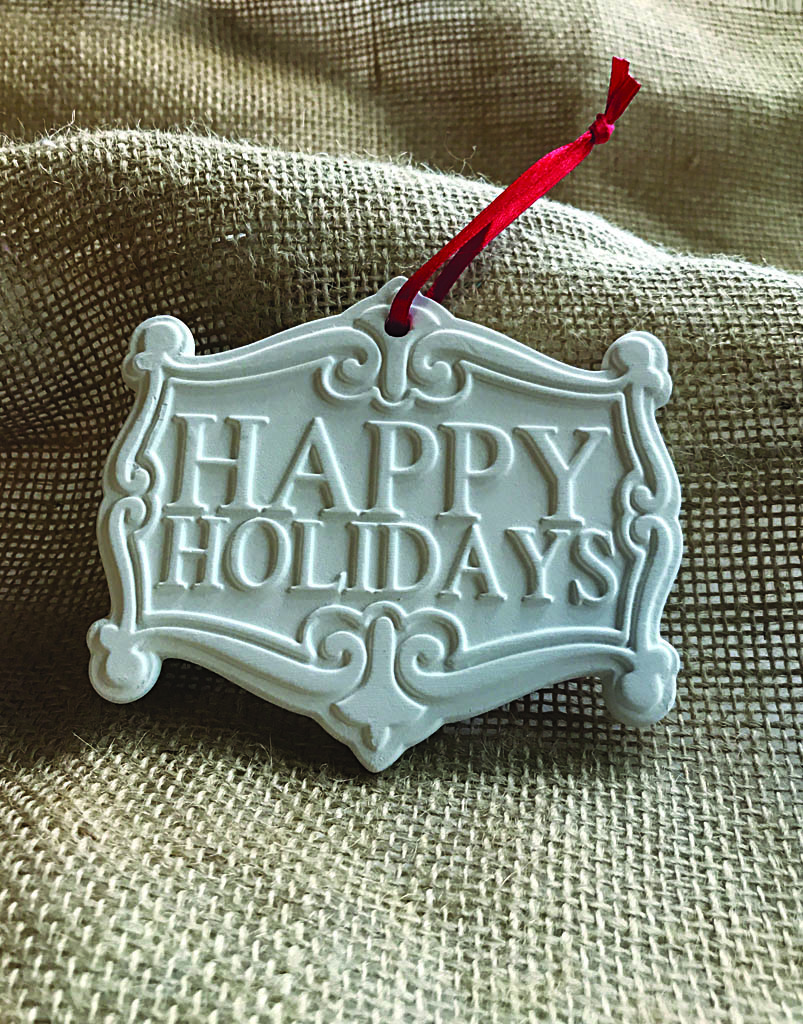 Time & Again Ceramic Ornament – Happy Holidays
