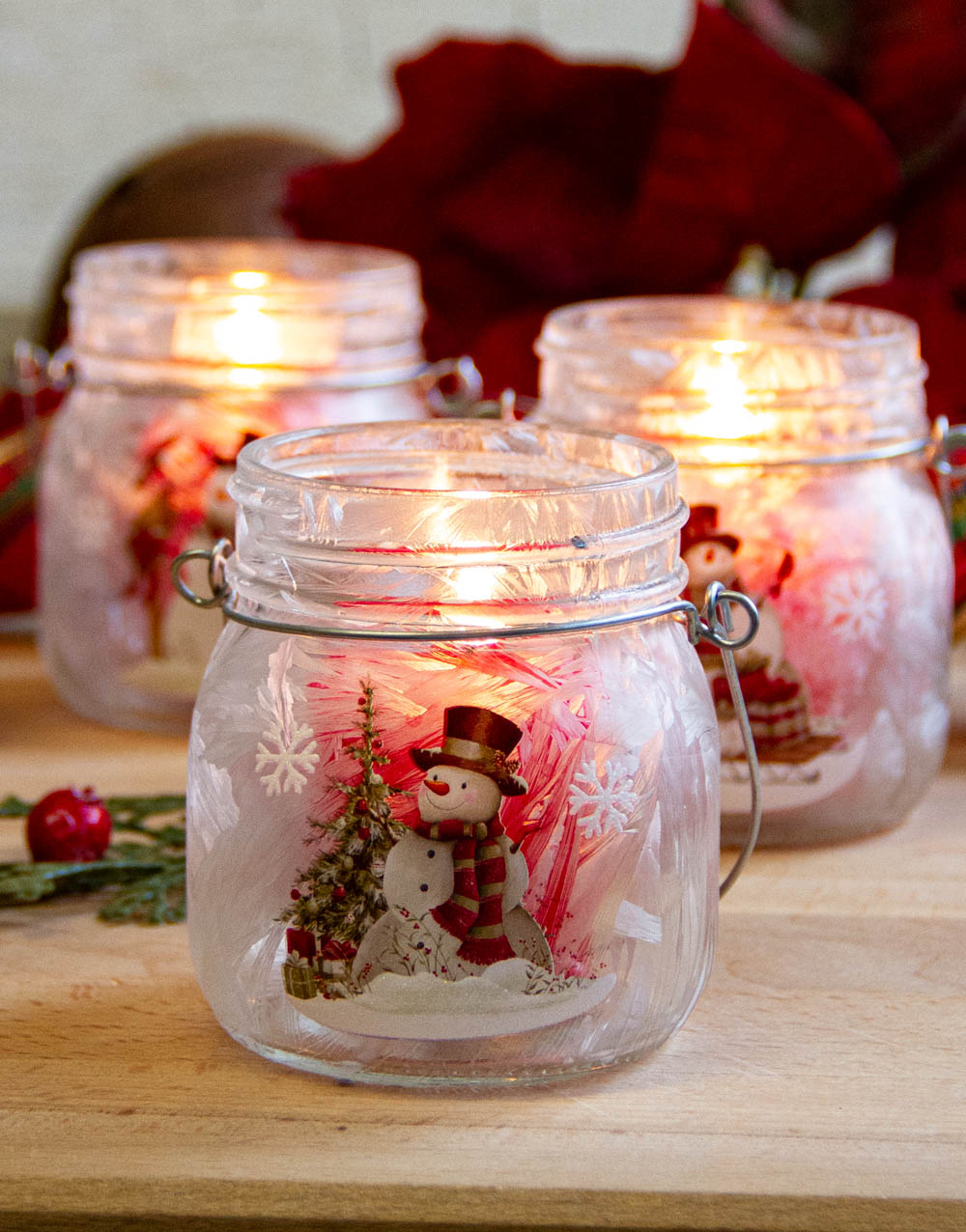 Frosted Snowman Votive Holders