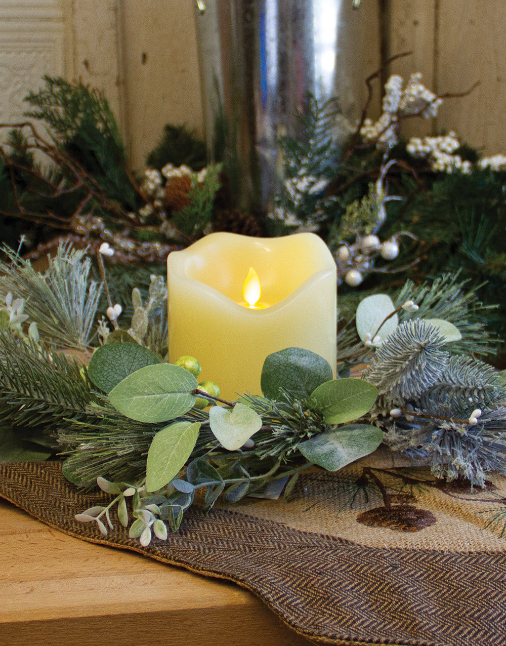 Winter Frost Candle Wreath