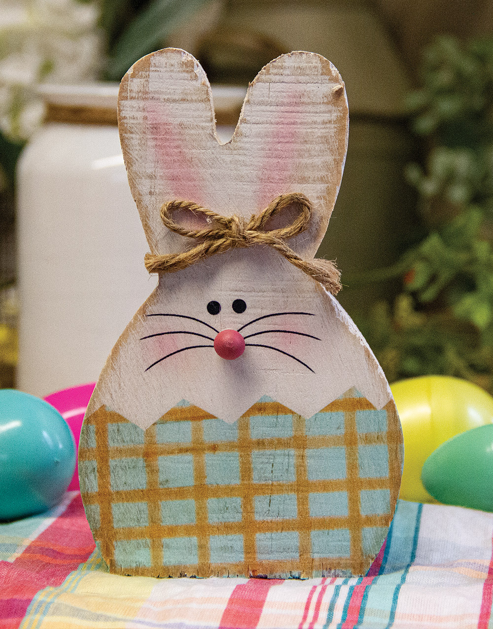 Pastel Easter Bunny Wooden Figurines