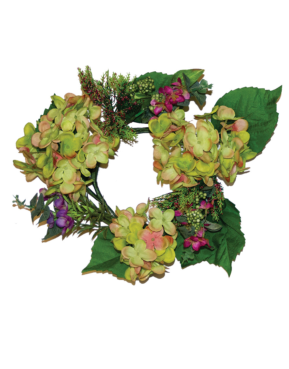 Candle Ring – Hydrangea & Wild Blossom 6″, Green & Pink