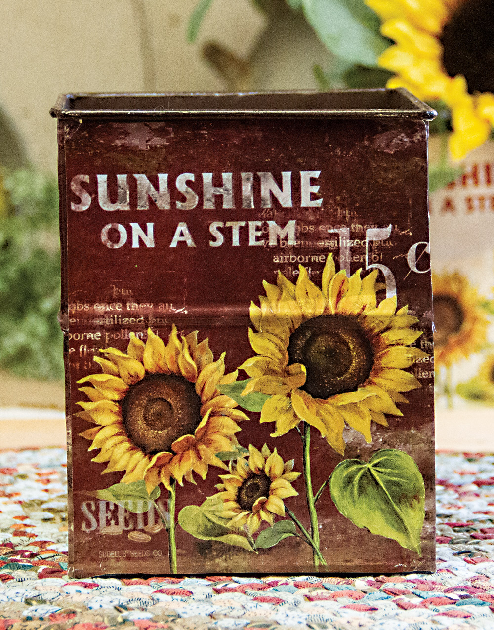 Rustic Sunflower Small Metal Container – Burgundy
