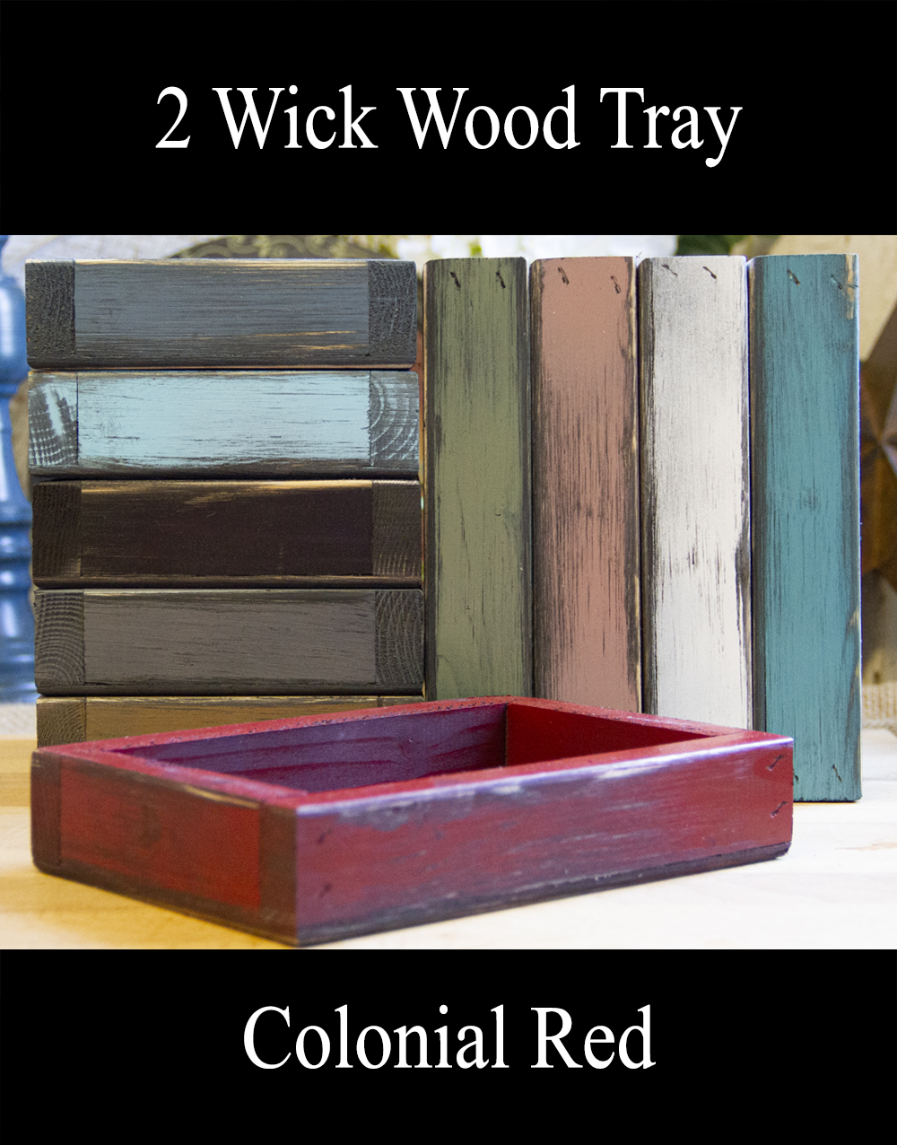 2-wick tray-Colonial Red