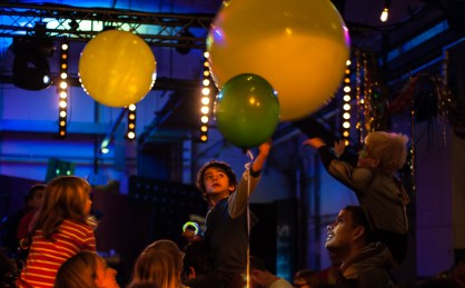 Big balloons on the dancefloor at Big Fish Little Fish as part of the Mini Vault Festival, Waterloo. Photographed by Anna Hindocha/Warm Glow Photo
