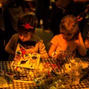 Boy and girl doing craft at Big Fish Little Fish as part of the Mini Vault Festival, Waterloo. Photographed by Anna Hindocha/Warm Glow Photo