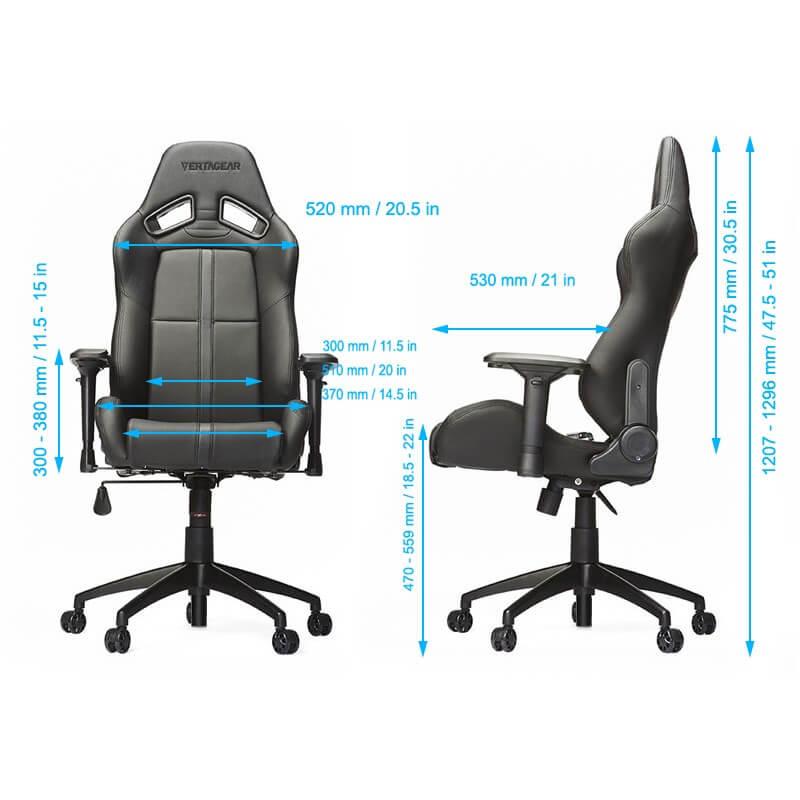 Dimensions du fauteuil gamer SL5000 de Vertagear