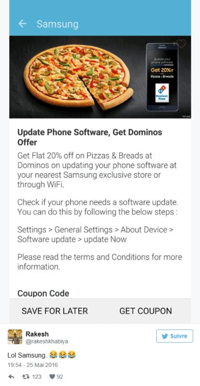 Mettre à jour son smartphone pizza samsung tweet