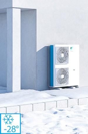 Pompe de caldura aer apa Daikin Altherma 3H functioneaza la -28°C