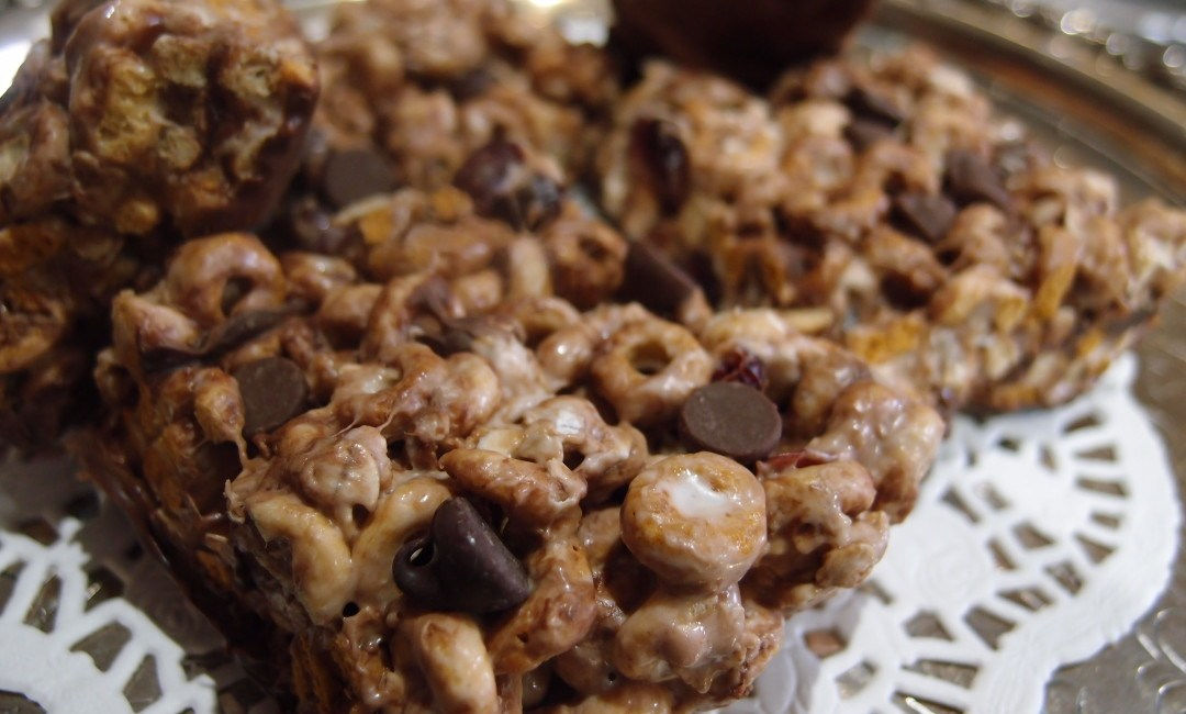 Chocolate Filled Marshmallow Cereal Bars