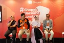 ShopeeBersamaLombok - ki-ka Bambang Suherman (Resources Mobilization Director, Dompet Dhuafa), Irvan Nugraha (Chief Marketing Officer, Rumah Zakat), Rini Maryani (Vice President, ACT), Rezki Yanuar