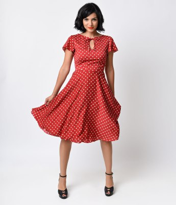 UV 1940's Style Red & Ivory Dot Formosa Swing Dress