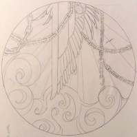 """Sketch for an """"ezara,"""" or a decorated plate. I must have been reading Sartre at the time. (March 2011)"""