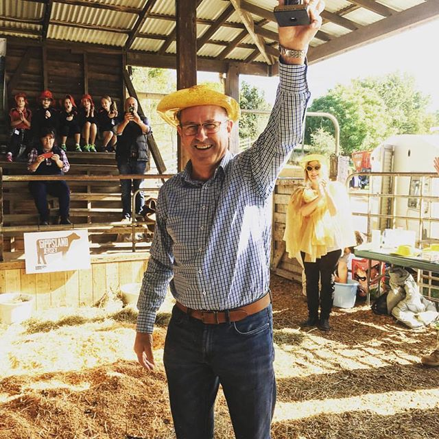 @garyblackwoodmp must be congratulated for putting up his hand to most challenges that our community put to him. Here's a🔙 photo @lardnerpark when he was crowed WINNER of. . This Saturday we are raising funds for @mnd_vic and Gary was invited to go under the @gippslandjersey milky ice bucket. Unfortunately he is out of town and can't make it but has generously donated 500 bucks to support Wendy and Joe Gillam's fundraising appeal. If you'd like to throw a few bucks at this cause, we'll have some empty milk bottles floating around the market tomorrow (link is also in our bio). Come down and see the action just before 11am! . We appreciate Garry's support towards our market over the many years since inception