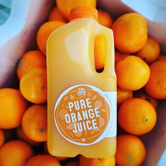 Freshly squeezed OJ!  Check out their new labels by @design_with_zach!  @kingfishercitrus