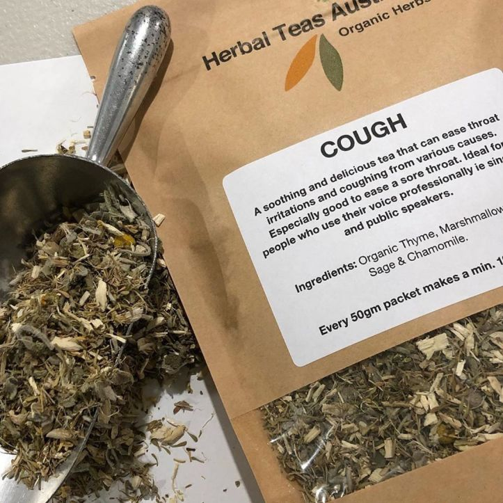 "Sore throat? Niggly feeling in the back of your throat? Nagging cough that won't shift even after you've finished your course of antibiotics?🌱🌱 Get into some nurturing herbal tea from @herbal.teas.australia this weekend!  Maybe the COUGH tea is the tea for you!☕️☕️☕️☕️☕️ tea also makes a lovey thoughtful gift for people who are unwell.  Designed to help anyone with a throat issue, because we have used the ""Singer's"" herbs – Thyme & Marshmallow root – blended with Sage and a little Chamomile.😊😊😊😊 Add a little raw or manuka honey and you have a tea that will soothe a sore throat, settle a cough and head a cold off before it can get started.  When diluted it is safe for babies and children so don't hesitate to make a pot and share with the whole family.  For convenience, make it up, allow to cool and pour into a water bottle and take it with you wherever your day takes you.  These teas are made using the best quality Australian Certified Organic herbs but they are excellent value too – every 50gram packet will make a minimum of 100 cups.  Please note: this tea is not recommended for breastfeeding mums😁😁😁🌱☕️☕️☕️☕️☕️"