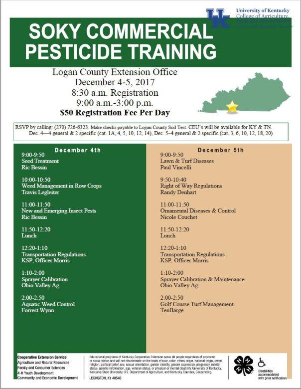 soky commercial pesticide training hort newsletter