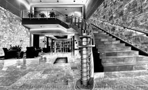 Lobby and Stairs BW 2