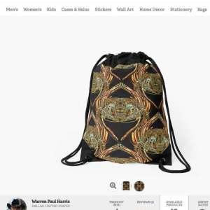 Golden-Scarab-Drawstring-Bag