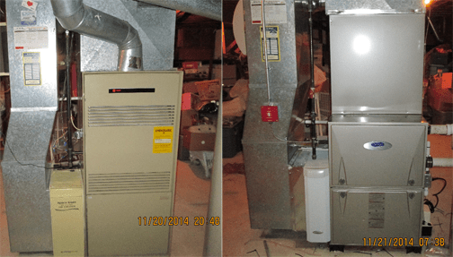 Before and after photos of old and new furnaces