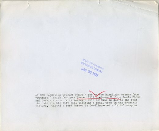 Reverse of Outcast press photo, date stamped January 28, 1937 by the Examiner Reference Library.  Text on reverse follows below
