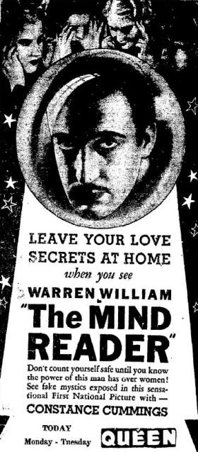 The Mind Reader ad, Big Spring Daily Herald, April 9, 1933
