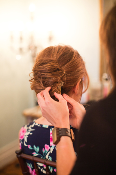Kentucky estate wedding- Finishing Touches on Bridal Updo