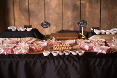 Kentucky summer wedding- rustic elegant barn wedding reception with Kentucky themed dessert bar