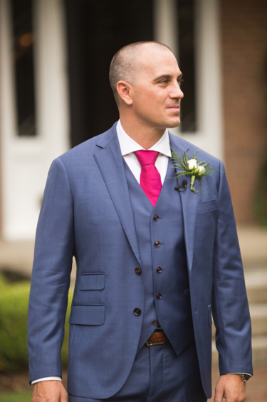 Kentucky estate wedding- Groom dressed in blue suit
