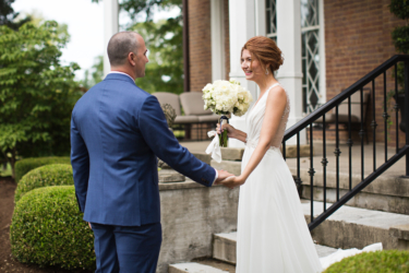 Kentucky estate wedding- Bride & Groom First Look on Warrenwood Front Steps