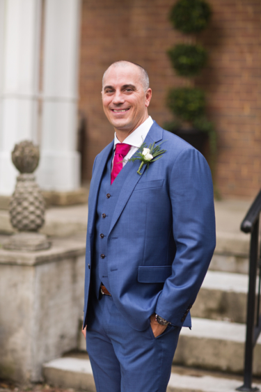 Kentucky estate wedding- Groom's attire in navy blue and pink accents