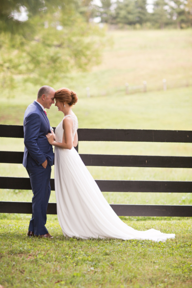 Kentucky summer estate wedding- Bride and Groom portrait on the farm