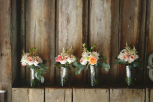 Pink, Coral and Ivory Bridesmaids' Bouquets