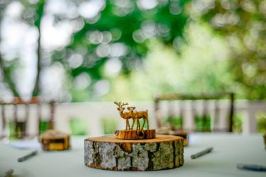 Rustic centerpiece at outdoor reception
