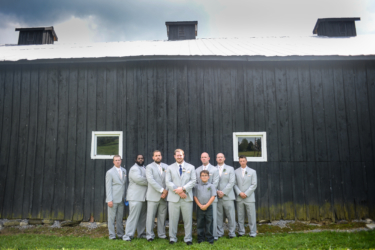 Groomsmen in gray during KY farm wedding