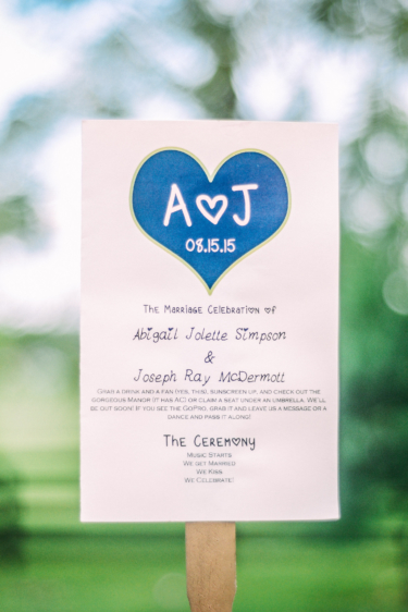 Blue and White Wedding Ceremony Program