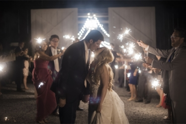 Bride & Groom exit their reception, sparkler exit
