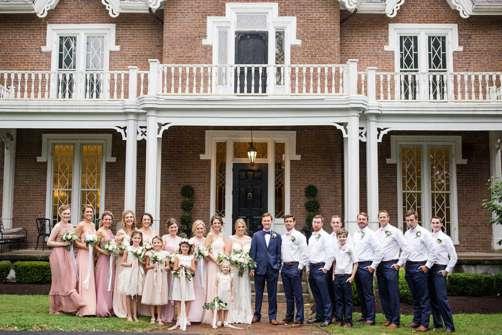 Charming Southern Wedding Party at Warrenwood Manor. Blush, Navy & White wedding attire.