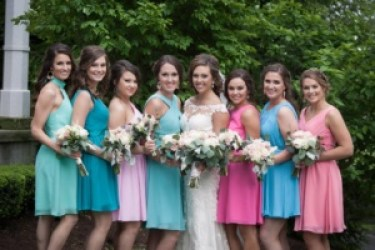 Vibrant Mismatch Bridesmaid Dresses, Photo by Christy Lee Photography