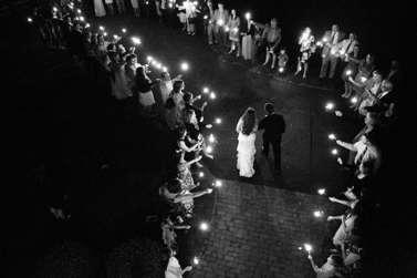 Sparkler send off from wedding reception