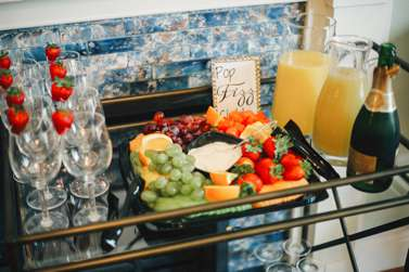 Mimosas and fruit in the bridal suite