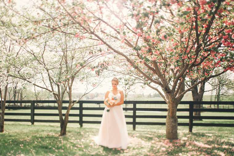 Outdoor bridal portrait at central Kentucky wedding venue