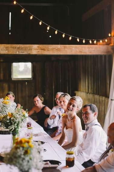 Classic rustic barn wedding reception at Warrenwood Manor