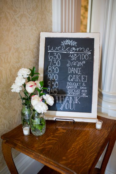 Sign with wedding timeline