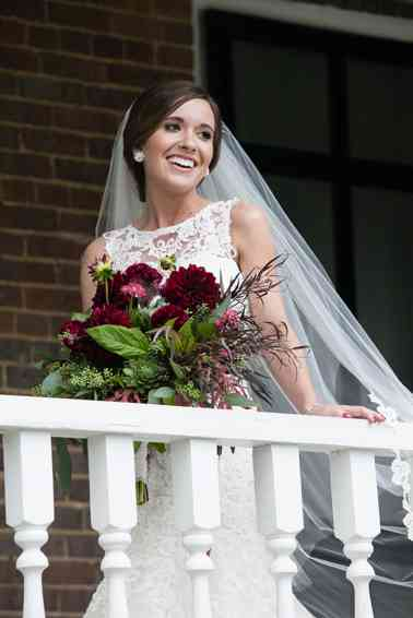 Burgundy and greenery bridal bouquet by Jeanie Gorrell Floral Design, Photo by Hilly Photography