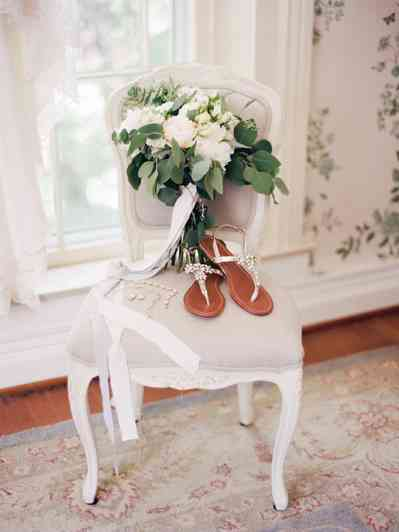 White Bridal Bouquet with long ribbons, Photo by Leah Barry Photography