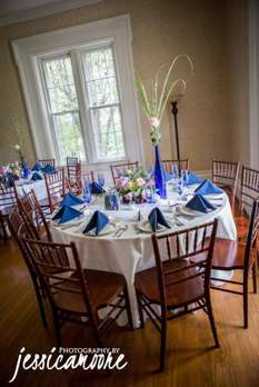 Vibrant tablescape with cobalt blue, pink and white. Jessica Moore Photography.