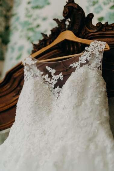 Illusion neck line wedding dress
