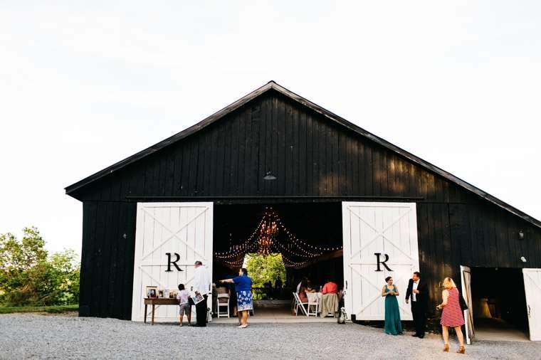 Refined rustic wedding barn on rural farm, black & white barn