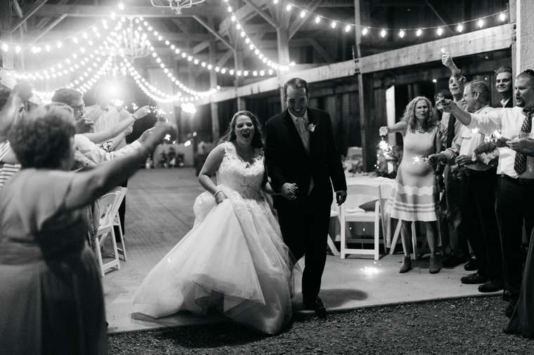 Sparkler send off from Kentucky barn wedding reception